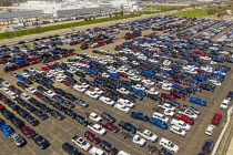 22-04-2019 - Detroit, Michigan, USA, Fiat Chrysler vehicles awaiting transport, Cassens Transport, Connor Yard. The yard is adjacent to the FCA Jefferson North Assembly Plant © Jim West