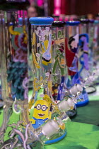 20-04-2019 - Mt. Pleasant, Michigan, USA, Bongs, 420 Canna Expo, a trade show for companies selling goods and services for the medical and recreational marijuana industry. Michigan legalized recreational marijuana... © Jim West