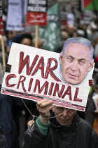 11-05-2019 - National Demonstration for Palestine, London. Benjamin Netanyahu War Criminal placard © Jess Hurd