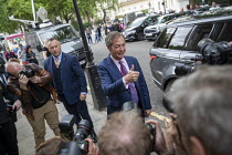 27-05-2019 - Nigel Farage arriving for a Brexit Party victory press conference European Elections, London © Jess Hurd