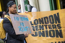 29-05-2019 - London Renters Union protest outside Newham Council calling for justice for renters living in temporary accommodation, Stratford, London © Jess Hurd