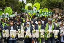 14-06-2019 - Humanity wreath carried by family and friends of those who died in the Grenfell fire on the 2nd anniversary, Kensington, London. © Jess Hurd