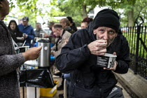 12-06-2019 - Street soup kitchen for the homeless, Manchester. Curry and tea provided by local volunteers © John Harris