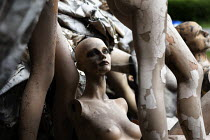 20-06-2019 - Twiggy. Fire damaged figures. Dollywood mannequin recycling centre. Mannakin refurbishes the mannequins for hire and resale so they do not go to landfill as waste, nr Grantham. The centre has around 1... © John Harris