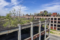 08-06-2019 - Detroit, Michigan, USA: Derelict Packard automotive plant. Opened in 1903, the 3.5 million square foot plant employed 40,000 workers before closing in 1958 © Jim West