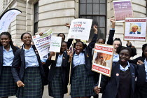26-06-2019 - The Time Is Now - Christian Aid protest and lobby of Parliament calling for urgent action on climate change. Secondary schoolgirls from St Catherine's Roman Catholic School Bexleyheath given time off... © Stefano Cagnoni