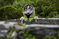 25-06-2019 - Mythical giant called Gwril in Llwyngwril, yarn bombing or guerrilla knitting in the quirky little Welsh village, it knits creations through the winter as a community project to decorate the village i... © Jess Hurd