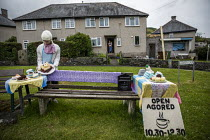 25-06-2019 - Cafe, Yarn bombing or guerrilla knitting in Llwyngwril, the quirky little Welsh village knits creations through the winter as a community project to decorate the village in the summer months, Cambrian... © Jess Hurd