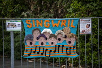 25-06-2019 - Singwril, singing group, Yarn bombing or guerrilla knitting in Llwyngwril, the quirky little Welsh village knits creations through the winter as a community project to decorate the village in the summ... © Jess Hurd