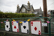 25-06-2019 - Whist Club, Yarn bombing or guerrilla knitting in Llwyngwril, the quirky little Welsh village knits creations through the winter as a community project to decorate the village in the summer months, Ca... © Jess Hurd
