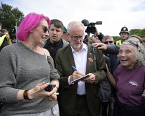 13-07-2019 - Jeremy Corbyn signing an autograph for a supporter, 2019 Durham Miners Gala © Mark Pinder