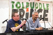 21-07-2019 - Kevin McGuire in conversation with Matt Collins about fighting racism and fascism, Tolpuddle Martyrs Festival, Dorset. © Jess Hurd