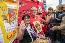 21-07-2019 - Jeremy Corbyn with a Waspi woman, who was taught by his mother (pictured), Tolpuddle Martyrs Festival, Dorset. © Jess Hurd