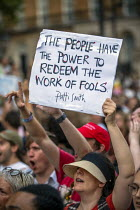 24-07-2019 - Fck Boris protest against Prime Minister Boris Johnson, Westminster, London. The People Have The Power To Redeem The Work Of Fools, Patti Smith quote © Jess Hurd
