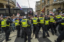 03-08-2019 - Scuffles with the police, Free Tommy Robinson protest, BBC Portland Place, London © Jess Hurd
