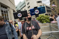 03-08-2019 - TR NEWS intimidating journalists covering Free Tommy Robinson protest, BBC Portland Place, London © Jess Hurd