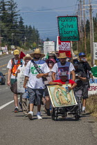 04-08-2019 - Bellington, USA, Community2Community and Familias Unidas por la Justicia protest the H2-A guestworker program and the death of Honesto Silva, on the anniversary of his death two years ago © David Bacon