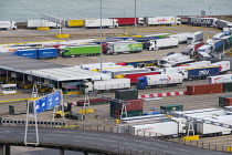 15-08-2019 - Lorries waiting to board a cross channel ferry at the Eastern Docks, Port of Dover, Kent. © Philip Wolmuth