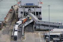 15-08-2019 - Lorries disembarking from a cross channel ferry at the Eastern Docks, Port of Dover, Kent. © Philip Wolmuth