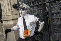 28-08-2019 - Charlie Chaplin, The Great Dictator, Defend democracy, resist the Parliament Shutdown protest as the Queen agrees to suspend Parliament at Boris Johnsons request, College Green, Westminster, London. © Jess Hurd