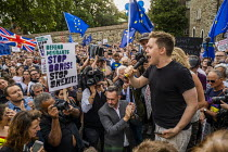 28-08-2019 - Owen Jones speaking Defend democracy, resist the Parliament Shutdown protest as the Queen agrees to suspend Parliament at Boris Johnsons request, College Green, Westminster, London. © Jess Hurd