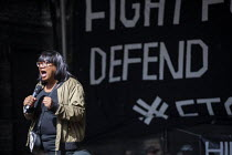 31-08-2019 - Diane Abbott MP speaking Stop The Coup, defend democracy protest, Downing Street, Westminster, London. © Jess Hurd