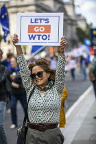 03-09-2019 - Stop The Coup protests for and against the government during the Brexit vote, Westminster, London. Lets Go WTO Leave supporter © Jess Hurd