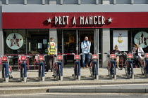 13-08-2019 - Santander Cycles public bicycle hire scheme, Pret A Manger sandwich bar, City of London © Philip Wolmuth