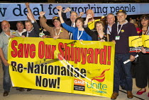 10-09-2019 - Harland and Wolff shipyard workers with Frances O'Grady, Save our Shipyard, TUC Congress, Brighton 2019. © Jess Hurd