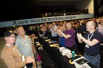 10-09-2019 - Harland and Wolff shipyard workers standing ovation, Save our Shipyard, TUC Congress, Brighton 2019. © Jess Hurd