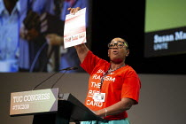 13-09-2019 - Susan Matthews Unite speaking TUC Conference, Brighton, 2019. Show Racism the Red Card © John Harris