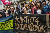 16-09-2019 - London Renters Union and Sisters Uncut protest at Hackney Town Hall against the treatment of housing activists in Marian Court, a controversial redevelopment, East London © Jess Hurd
