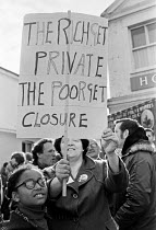 29-10-1979 - Workers protest at closure of St Olave's Hospital, London 1979. The rich get private the poor get closure © Martin Mayer