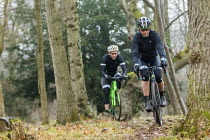 20-01-2018 - Cyclo-cross riders in the woods, Bristol. Cyclo-cross is a form of off-road cycle racing © Paul Box