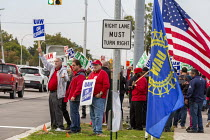 11-10-2019 - Warren, Michigan, USA: UAW picketing GM Technical Center in the fourth week of their strike. The strike's main issues include plant closings, wages, the two-tier pay structure, temporary workers, and... © Jim West