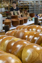 10-10-2019 - Michigan, USA: wooden bowls, The Holland Bowl Mill, which manufactures bowls and other wood products © Jim West