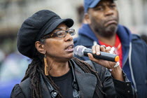 26-10-2019 - Marcia Rigg, sister of Sean Rigg speaking, Annual United Families and Friends Campaign march against deaths in police custody, Whitehall, Westminster, London. © Jess Hurd