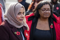 09-11-2019 - Apsana Begum General Election Labour Party campaign launch with Diane Abbott MP in Chrisp Street Market for Poplar and Limehouse constituency, East London. © Jess Hurd