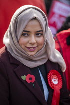 09-11-2019 - Apsana Begum General Election Labour Party campaign launch, Chrisp Street Market for Poplar and Limehouse constituency, East London. © Jess Hurd