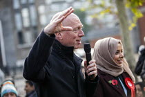 09-11-2019 - Matt Wrack FBU speaking, Apsana Begum General Election Labour Party campaign launch, Chrisp Street Market for Poplar and Limehouse constituency, East London. © Jess Hurd