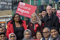 09-11-2019 - Apsana Begum General Election Labour Party campaign launch with Diane Abbott MP and Matt Wrack, FBU in Chrisp Street Market for Poplar and Limehouse constituency, East London. © Jess Hurd