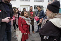 16-11-2019 - Tulip Siddiq, Labour Party PPC for Hampstead and Kilburn and supporters gather for canvassing, West Hampstead, London © Philip Wolmuth