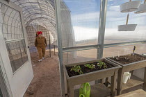 13-11-2019 - Hanksville, Utah, USA: Mars Desert Research Station. Researchers simulate living on Mars. 'Expedition Boomerang' brought Australian researchers to the station. Jennifer Lane walking through a connecti... © Jim West