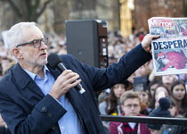 09-12-2019 - Jeremy Corbyn speaking with Mirror front page, Labour Party Election Campaign Rally Bristol. The Mirror front page story with a photograph of a four year old boy with Pneumonia who had to sleep on the... © Paul Box