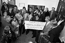 13-11-1979 - Workers from Rosedale Ltd, Bedwas, Wales, lobby officals, AUEW HQ Peckham, South London, 1979 accussing the leadership of leading them like lambs to slaughter as they fight closure of their plant. Off... © Peter Arkell