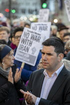 04-01-2020 - Richard Burgon speaking No War With Iran protest after the assassination of Iranian general Qassem Soleimani. Stop the War, Downing Street, Westminster, London © Jess Hurd