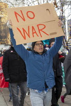 04-01-2020 - Detroit, Michigan, USA, NO WAR rally against war with Iran, following the assassination of Iranian General Qassem Soleimani © Jim West