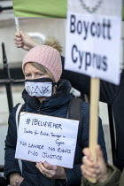 06-01-2020 - Protest for a UK teenager allegedly gang raped by 12 young Israeli men. She is facing a sentence in Cyprus after being convicted of lying about the incident, Cypriot Embassy, London © Jess Hurd