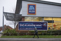 08-01-2020 - Aldi supermarket, Stratford upon Avon, Warwickshire. Start An Amazing Career advertisment © John Harris