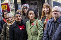 03-10-2019 - Samira Ahmed BBC presenter and NUJ member with supporters outside her equal pay employment tribunal, Victory House, London © Jess Hurd